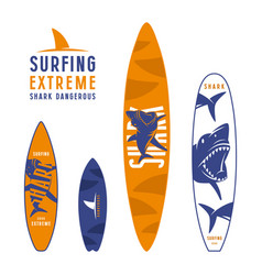 Surfboard graphic design with the image of sharks vector