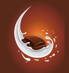 Milk splash with sweet chocolate candy vector