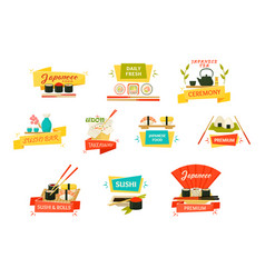 Japanese sushi and rolls with wooden chopsticks vector