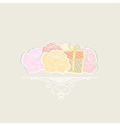 Bouquet of roses with a gift vector