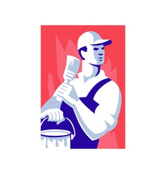 Painter worker paint brush vector