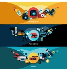Camera banners set vector