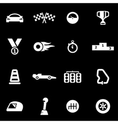 White racing icon set vector