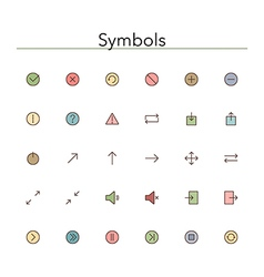 Symbols colored line icons vector