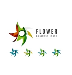 Set of abstract flower logo business icons vector