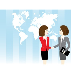 Business woman shaking hand vector