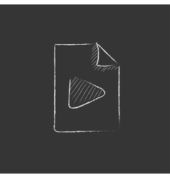 Audio file drawn in chalk icon vector