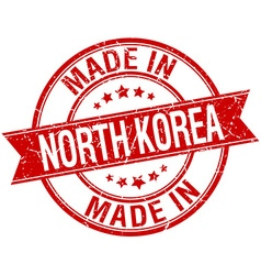 Made in north korea red round vintage stamp vector