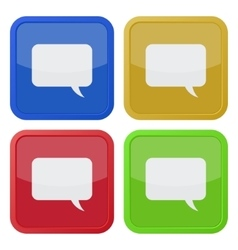 Set of four square icons with speech bubbles vector