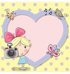 Cute cartoon girl with a camera vector