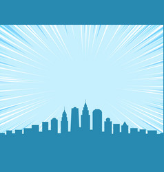 big city comic cartoon style background vector image
