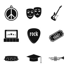 big concert icons set simple style vector image vector image