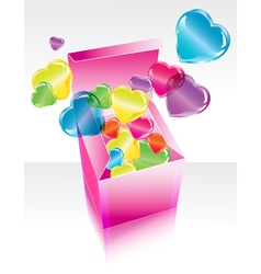 box with hearts vector image