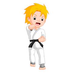boy karate player cartoon vector image