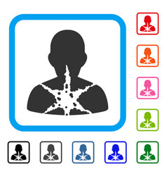 Cancer damaged patient framed icon vector