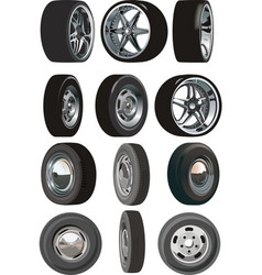 car wheels set vector image