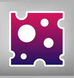 Cheese slice sign purple gradient icon on vector
