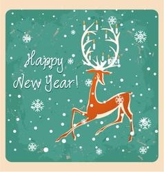 Christmas deer vintage seamless greeting card vector