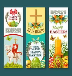 Easter spring holiday festive banner set design vector