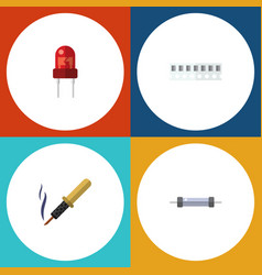 Flat icon electronics set of memory resistor vector