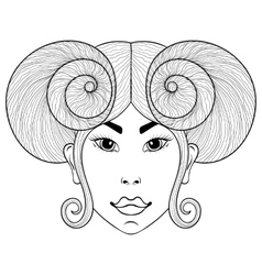 Hand drawn zentangle zodiac sign aries with girl vector