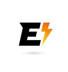 Letter e lightning logo icon design template vector