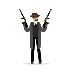 mafia man character in gray coat and fedora hat vector image