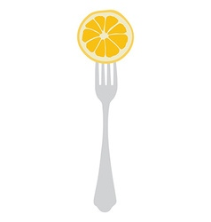 Orange on fork vector image