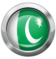 Pakistan flag metal button vector image vector image