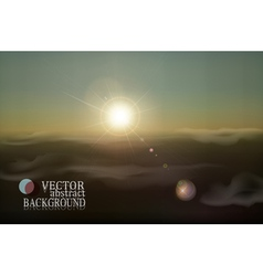 retro landscape with clouds and sun vector image