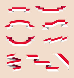 Ribbons or banners in colors of the flag of monaco vector