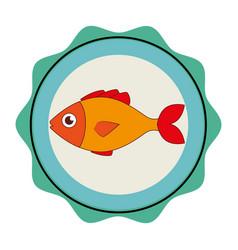 Sea fish emblem icon vector