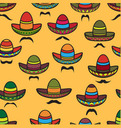 Seamless pattern sombrero and moustache on vector