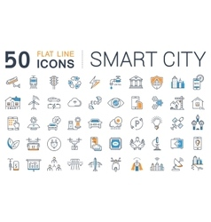 Set flat line icons smart city vector