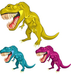Set of colorful dinosaur tyrannosaurs vector