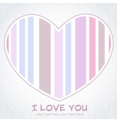 Stripped heart love greeting floral postcard vector image