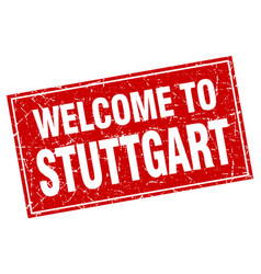 Stuttgart red square grunge welcome to stamp vector
