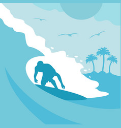 Summer background card with surfer and wave vector