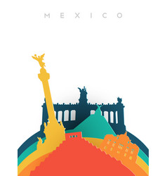 Travel mexico 3d paper cut world landmarks vector