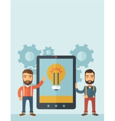 Two men holding a big screen tablet vector image vector image
