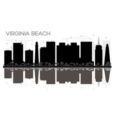 Virginia beach city skyline black and white vector