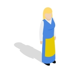 Woman wearing in traditional swedish costume icon vector image vector image