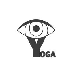 Yoga logo design template with eye vector