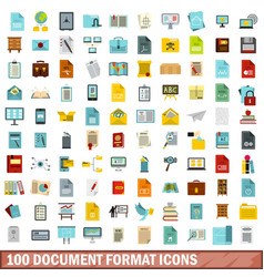 100 document format icons set flat style vector