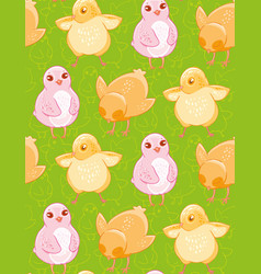 Seamless pattern with funny drawn yellow and pink vector