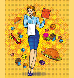 Waitress female retro pop vector