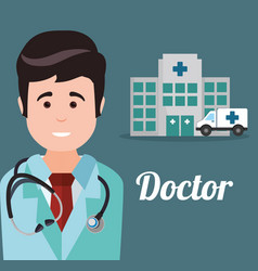 Doctor hospital ambulance heatlhy vector