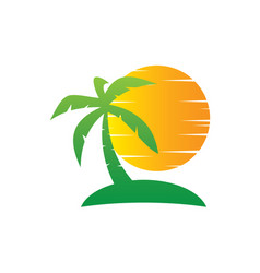tree palm sunset travel logo vector image