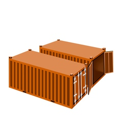 Two orange cargo containers on white background vector