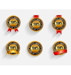 100 satisfaction gold label set with red ribbon vector